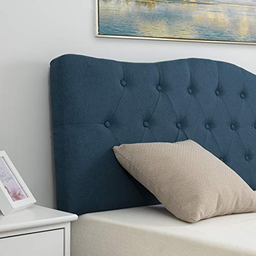 LAGRIMA Tufted Upholstered Linen Full/Queen Size Headboard with Curved Shape in Blue Fabric Adjustable Height