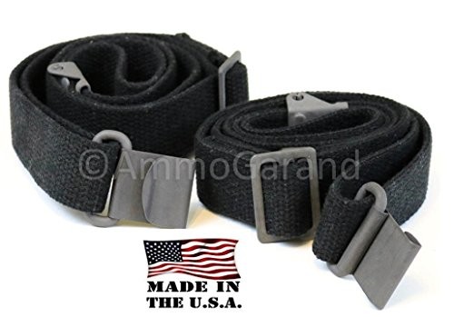 2-Pack AmmoGarand Web Sling M1 Garand USGI Style Two Point Black Cotton Web Made in USA