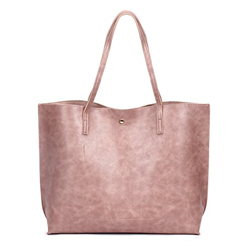 PU Pompom Bags Elegant Pink Shoulder Bags Oil Leather Ladies with KAMIERFA Tote for Vintage Women nawPxOxC