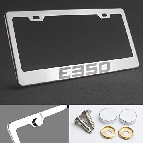 UFRAME 100% Stainless Steel License Plate Frame for Mercedes Benz E350 with Real Laser Engraving on Chrome Mirror Finished Surface