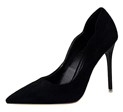 T&Mates Womens Elegant Sweet Suede Slip-on Pointy Toe Anti-Slip Stiletto High Heel Pumps Shoes