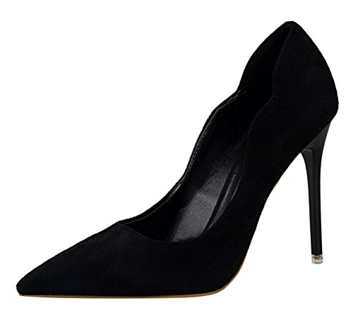 T&Mates Womens Elegant Sweet Suede Slip-on Pointy Toe Anti-Slip Stiletto High Heel Pumps Shoes (5.5 B(M) - Valley Oxford Hours