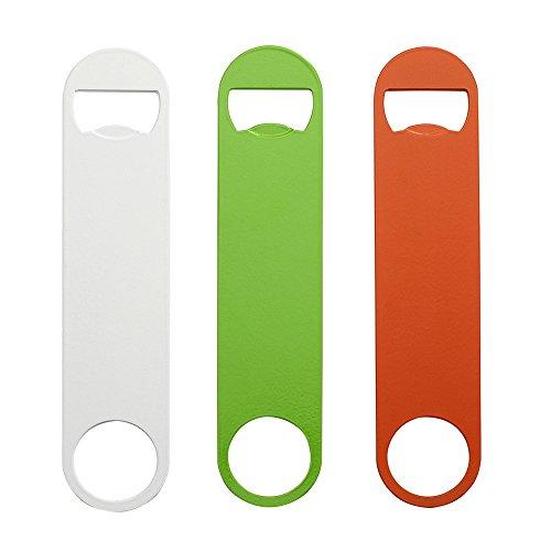 QLL 3 Pack 7″ Heavy Duty Flat Bottle Opener, White Green Orange Stainless Steel Beer Opener