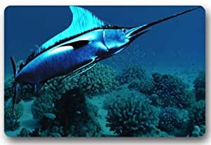 Tela no tejida 23,6(L) X 15,7(W) máquina Broadbill Swordfish Xiphias gladius interior/exterior/ducha/baño Felpudo Welcome Felpudo
