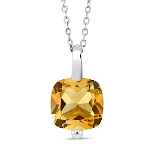 Gem Stone King 3.22 Ct Cushion Yellow Citrine 925 Sterling Silver Pendant With Chain