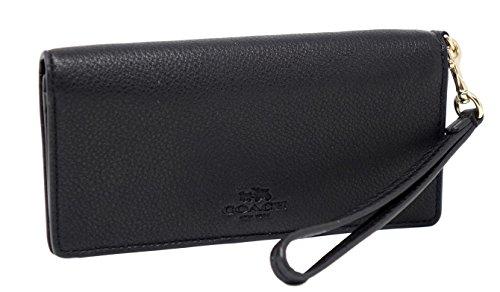 Coach Black Pebble Grain Leather Light Slim Wristlet Wallet F53767