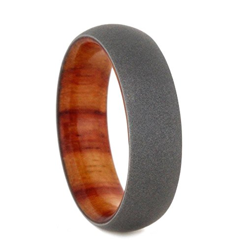 Beadblast Titanium Dome 6mm Comfort-Fit Tulip Wood Band and Sizing Ring, Size 7 by The Men's Jewelry Store (Unisex Jewelry)