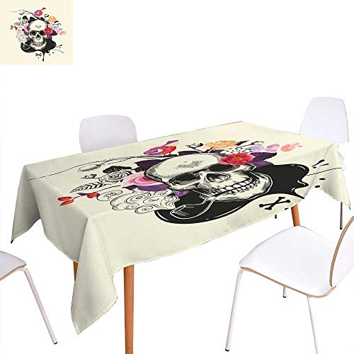Jacquard Tablecloth Human skull drawn in etching style with smoking pipe in mouth against bouquet of half-colored roses crossed bones and ink stain on background VectorRectangle/Oblong W 70