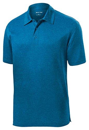 (Sport Tek Men's Lightweight Breathable Polo T Shirt - Blue Wake Hthr ST660)