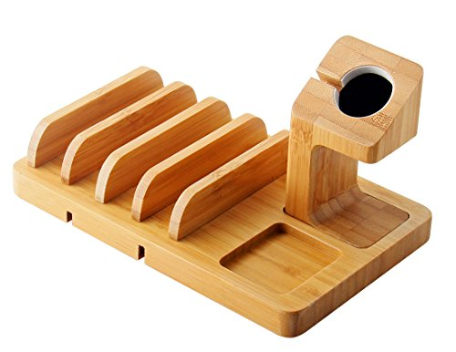 Apple Watch Stand,IPUTY Bamboo Wood Charge Dock Holder for Apple Watch Series(38mm & 42mm),5-Slot Detachable Universal Cradle Bracket Station Organizer for iPhone,iPad,Tablet or Smartphone by IPUTY