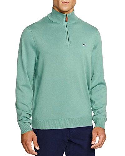 Vineyard Vines Mens Starboard Green Cotton 1/4 Zip Sweater