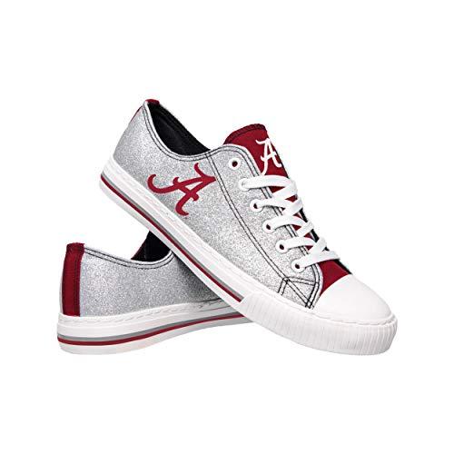 FOCO NCAA Alabama Crimson Tide Womens Glitter Low Top Canvas ShoesGlitter Low Top Canvas Shoes, Team Color, 9/XL ()