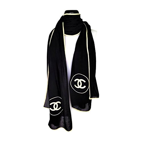 chanel-collection-cashmere-black-logo-scarf