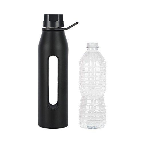 Takeya 22 Ounce Classic Glass Water Bottle with Silicone Sleeve and Twist Cap, Black