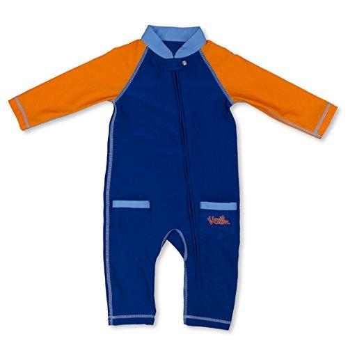 UV SKINZ UPF50+ Baby Boy Sun & Swim Suit-Navy Blue/Orange-12/18m