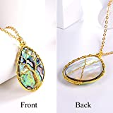 FOCALOOK Abalone Shell Necklace Colorful Pendant