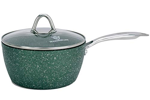 - WaxonWare 2.5 Quart Stone Nonstick Saucepan With Glass Lid, Scratch Resistant Non Toxic APEO PFOA Free Nonstick Cookware Cooking Pot, Induction Compatible, Dishwasher & Oven Safe (EMERALD Series)