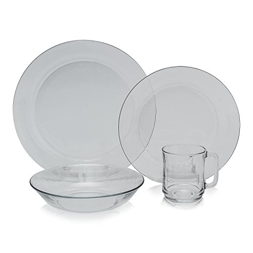 Duralex - Clear Glass 24pc Dinnerware Set, Service for 6 (Glass Dinnerware Sets Clear)