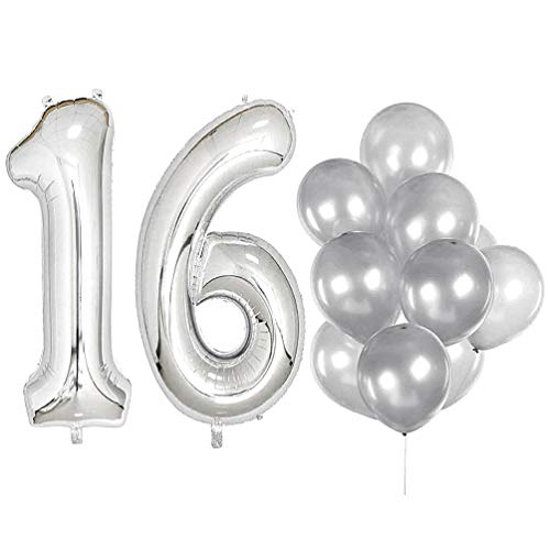 - IN-JOOYAA 40 in Big Number 16 Mylar Balloons Silver Sweet Sixteen Jumbo Foil Number Balloon for Sweet 16 Birthday Party Anniversary Celebrate Party Decoration