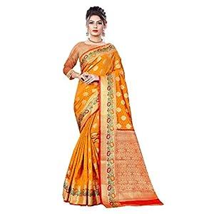 Shuru-Art =Women's Banarasi Silk Saree with All over Jari Jacquard Pattern and Rich Pallu (Orange)
