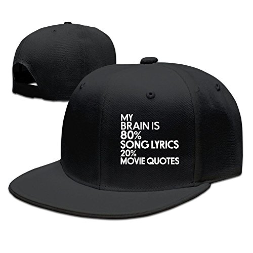 ZhiqianDF Men's My Brain Is 80% Song Lyrics 20% Movie Quotes Casual Style Basketball Black Cap Hat Adjustable Snapback