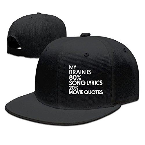 ZhiqianDF Men's My Brain Is 80% Song Lyrics 20% Movie Quotes Casual Style Basketball Black Cap Hat Adjustable Snapback