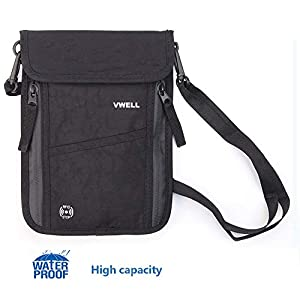 Neck Wallet, VWELL Passport Holder with RFID Blocking for Men and Women to Keep Your Cash And Documents Safe When Traveling (Black)