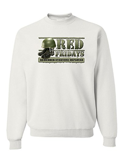 Red Fridays Remember Everyone Deployed Sweatshirt Support US Troops Sweater White M