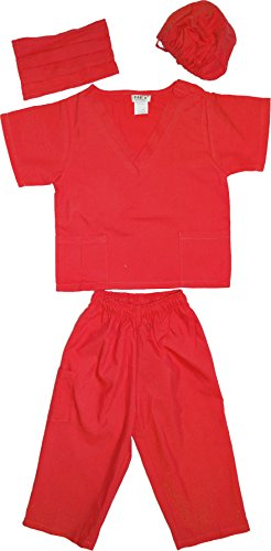 Kids Doctor Dress up Surgeon Costume Set, 6/8, (Red Nurse Outfit)