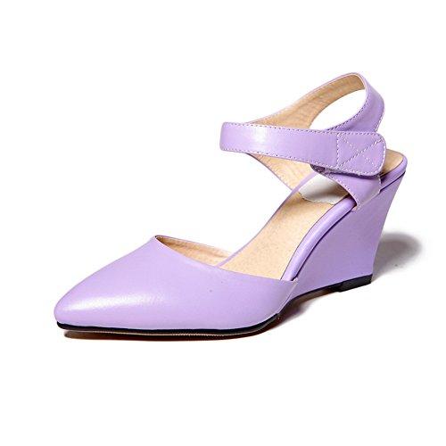 Amoonyfashion Mujer's Closed Toe High Heels Material Suave Solid Hook And Loop Sandalias Purple