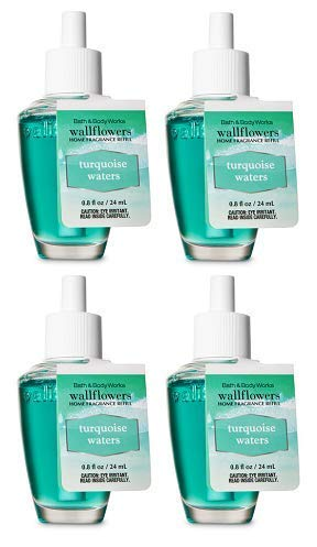 Bath and Body Works 4 Pack Turquoise Waters Wallflowers Fragrance Refill. 0.8 fl oz.