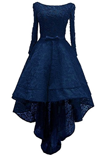 Hi Sleeve Lace Prom Long Lo Women's DKBridal Navyblue Evening Dresses Beads Gown SqWwYE7I