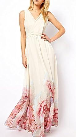 a57e84e35a55 BoBoLily Donna Vestiti Lunghi Estivi Eleganti Da Cerimonia Fiore Stampato Abito  Da Sposa Senza Maniche Vestito