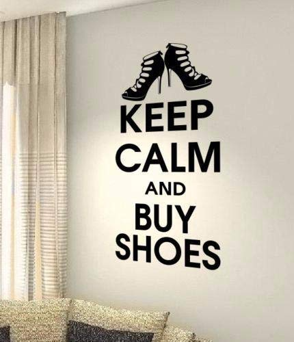 Dozili Vinyl Wall Decal Sticker Wall Art Quotes Sayings Words Deco Lettering Keep Calm and Buy Shoes for Home Room Living Room Bedroom Hose Home Decoration Gift Idea 15.9