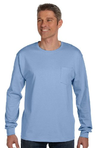 Hanes Men's Tagless Long Sleeve T-Shirt with a Pocket - 3X-Large - Light Blue