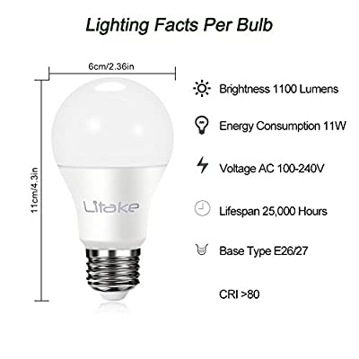Litake LED Light Bulbs, 100 Watt Equivalent(11W), 1100LM, General Purpose A19 LED Bulbs, E26 Base,ETL Listed Light Bulbs