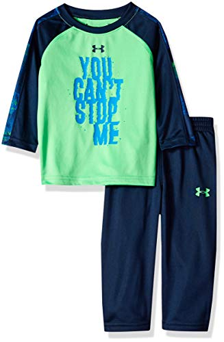 Under Armour Boys Two Piece Graphic Tee and Pant Set, Arena Green Stop 24M ()