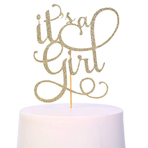 Gender Reveal Cake Topper - Glitter Cake Decorating Supplies, Gender Reveal Party Supplies For Photo Booth Props, Baby Shower Favors For The Gold Cake Topper(it's a girl) (it's a girl cake topper)]()