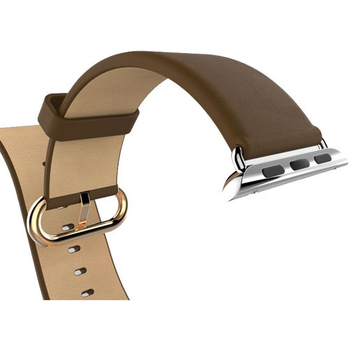 Apple Watch Band, Bein Premium Genuine Leather Replacement Strap Wrist Band Straps for Apple Watch 42mm W Metal Clasp, Classic Buckle & Modern Buckle (Leather - Brown)