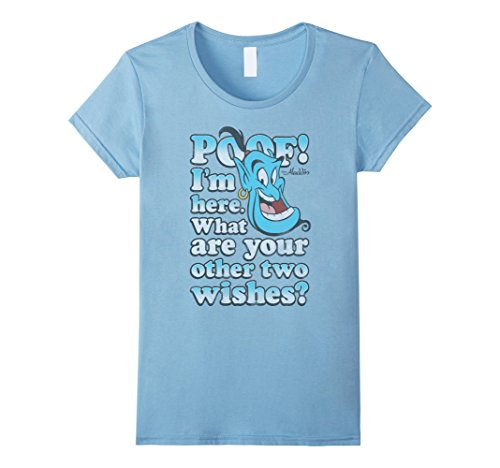 Womens Disney Aladdin Genie Two More Wishes Graphic T-Shirt Small Baby Blue A Wish T-shirt