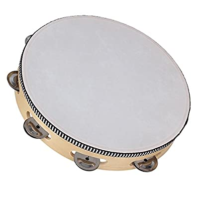 Yibuy 10 Inch Wood Color Music Hand Drum Percussion Beat Tambourine Drum with Wooden Ring & Drum Bell by etfshop