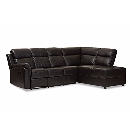 Baxton Studio Roland Modern and Contemporary Black Faux Leather 2-Piece Sectional with Recliner and Storage Chaise 2 Piece Sectional Chaise