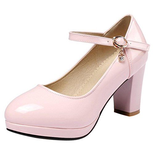 TAOFFEN Women's Ankle Strap Court Shoes Heels Pink