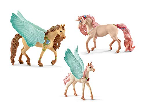 Schleich Bundle of 3 Decorated Pegasus Unicorns: Stallion, Mare and Foal