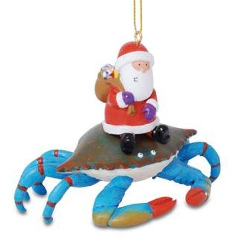 Cape Shore Santa Riding Maryland Blue Crab Christmas Holiday Ornament