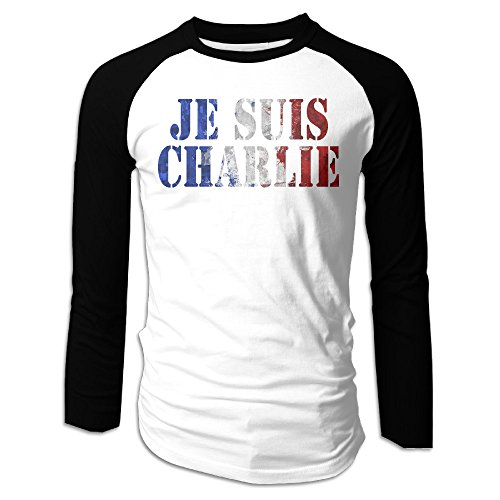 ARTCGH Je Suis Charlie Men's Long Sleeve Raglan T Shirts Black M