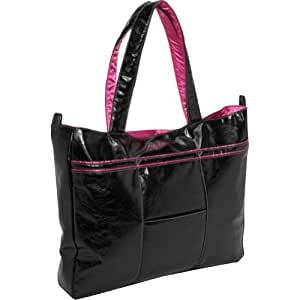 Ju-Ju-Be Mighty Be Earth Leather Diaper Bag, Black/Hot Pink