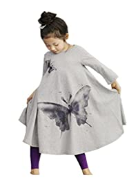 BELLE-LILI Girls Casual Long Sleeve Butterfly Print Maxi A-Line Flared Dress