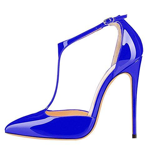 uBeauty High Heels Damenschuhe Lackleder T-Spangen Übergröße Pumps für Hochzeit Party Blau