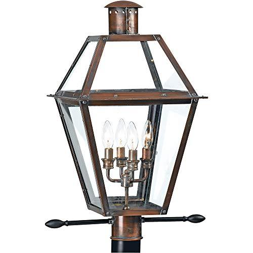 Quoizel RO9014AC Rue De Royal Outdoor Post Lantern, 4-Light, 240 Watts, Aged Copper (26